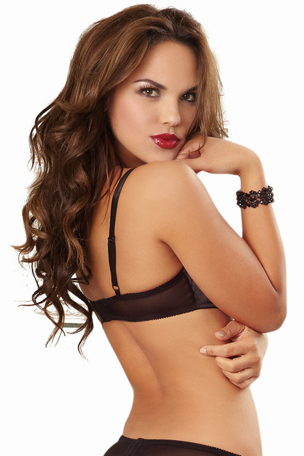 Shop this women's open cup shelf bra with black satin