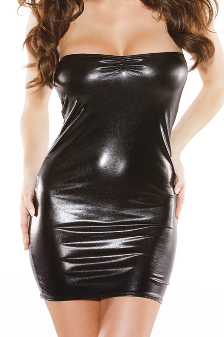Shop this women's wet look strapless mini dress