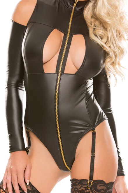 Shop this women's open crotch leather lingerie teddy with wrap around zipper and garter straps