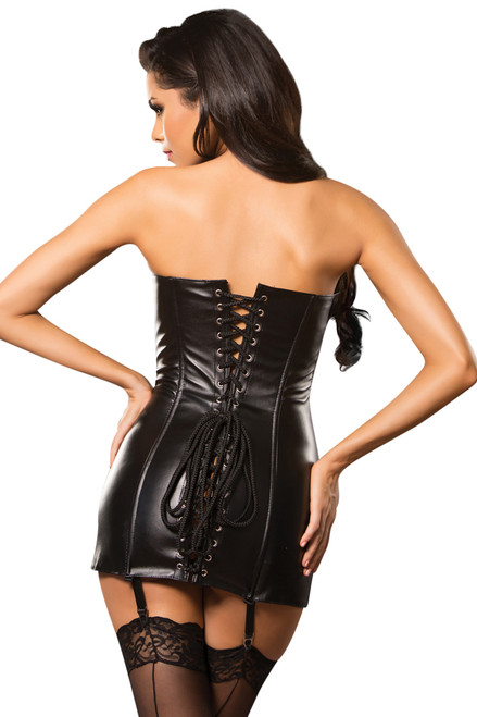 Shop this women's sexy black leather corset dress with lace up back