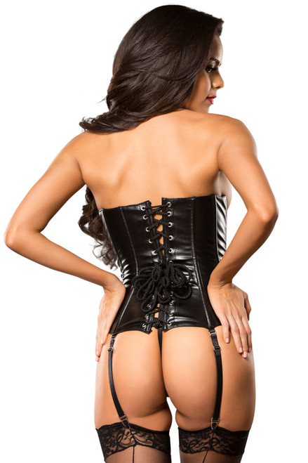 Shop this women's sexy faux leather lace up corset