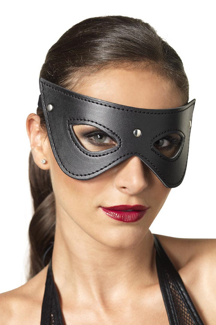 Shop this women's cat woman eye mask with faux leather material and metal studs