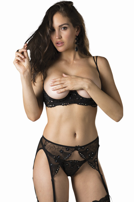 Shop this women's black floral shelf bra with metallic sequins