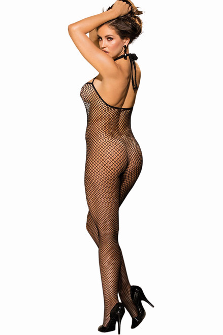 Shop this women's bodystocking lingerie with cage neckline and halter neck