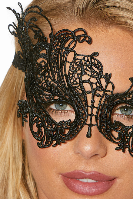 Shop this sexy costume accessory that features a Venice lace eye mask with stretch elastic headband