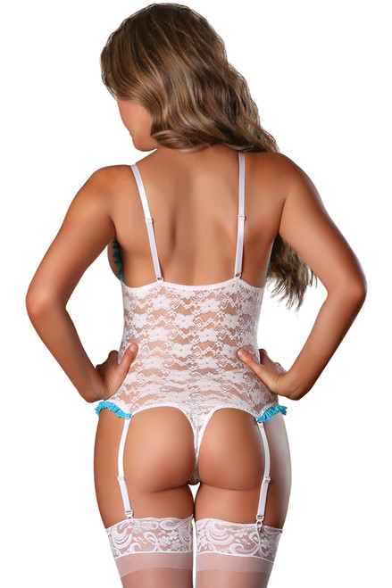 Shop this sexy white open cup lingerie that features a crotchless teddy with open cups