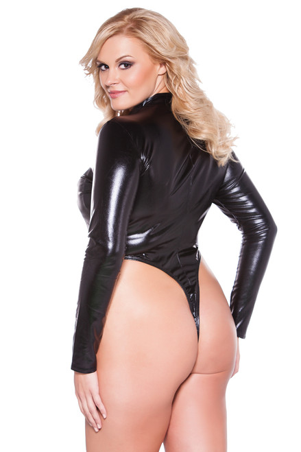 Shop this women's faux leather zipper bodysuit that comes in a plus size vinyl lingerie