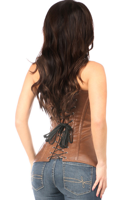 Shop this distressed leather corset with front zipper