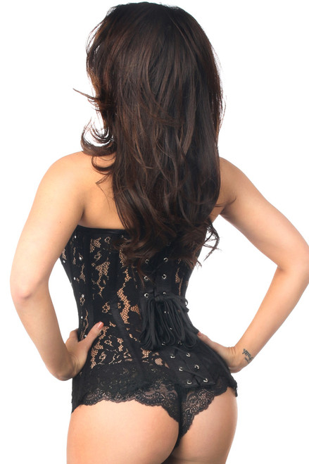 Shop this black lace corset with sheer floral lace and lace up back