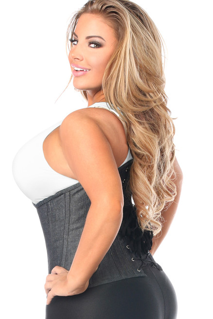 Shop this premium plus size underbust corset that features a black denim