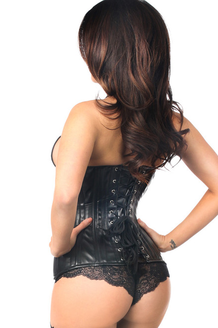 Shop this sexy premium corset lingerie with black faux leather