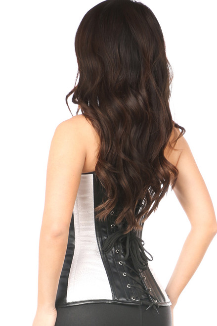 Shop this lingerie corset with white brocade and leather