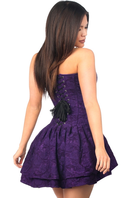 Shop this lacy corset in a deep purple with a flirty corset dress