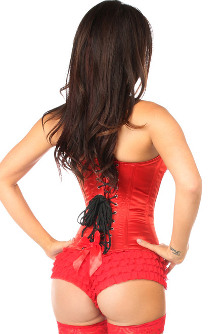 Shop this red corset with sequin front and pointed cups