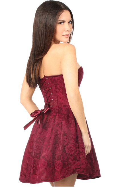 Shop this strapless red lace corset dress with lace up back and strapless dress