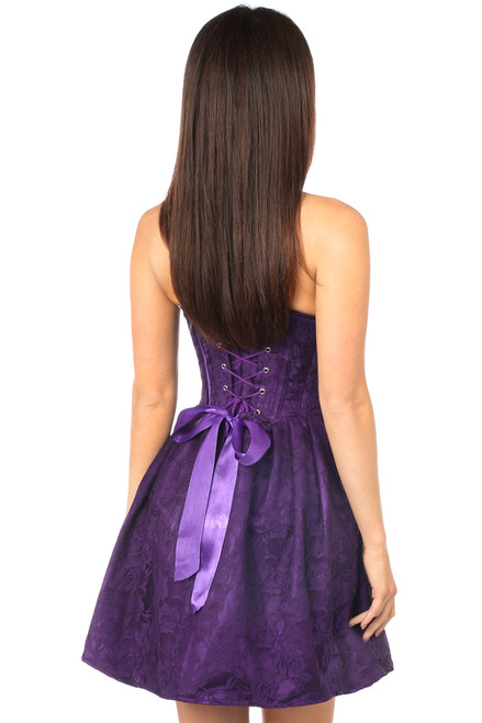 Shop this strapless purple lace corset dress with lace up back and strapless dress