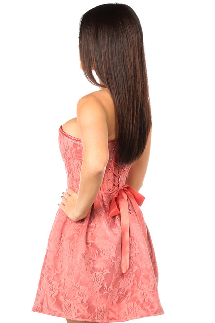 Shop this strapless coral lace corset dress with lace up back and strapless dress