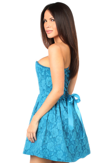 Shop this strapless teal lace corset dress with lace up back and strapless dress