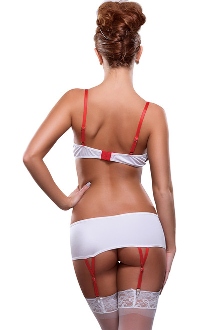 Shop this women's Beside Nurse Sexy Nurse Lingerie that features a white nurse bra and panty set with stretch mini skirt and nurse themed open cup lingerie