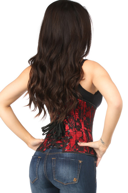 Shop this steel boned underbust corset with red and black lace
