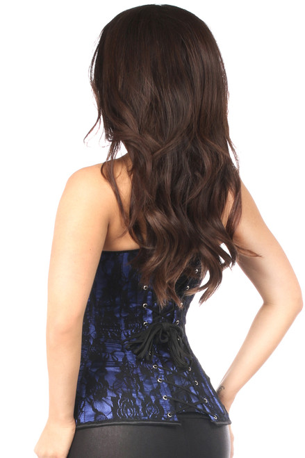 Shop this corsets sexy lingerie featuring this blue and black lace corset with steel boning