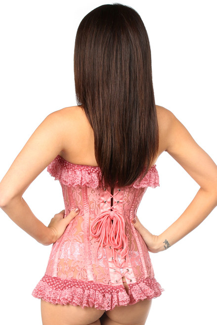 Shop for the best corset including this mauve lace corset that has ruffle cups