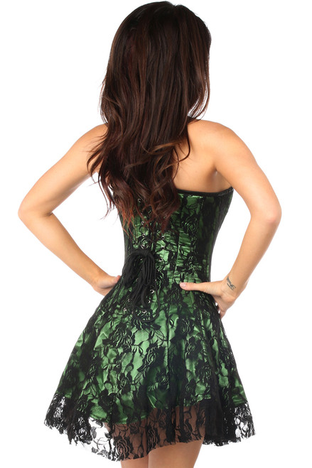 Shop this green corset dress with eyelash lace overlay and lace up back