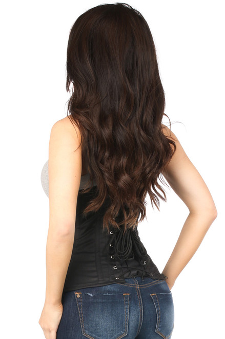 Shop this black corset lingerie that features a cotton corset black with lace up back and underbust
