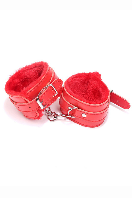 Shop this red leather wrist cuff adult toy that features metal clasps
