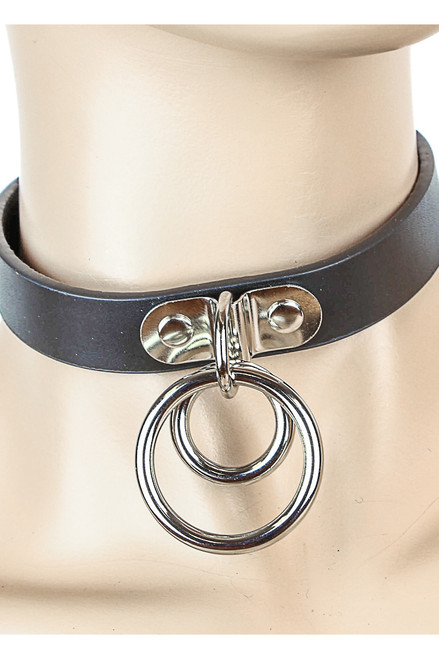 Shop this BDSM Collar that features a 100% genuine leather o ring choker with double o rings for a kitten play collar