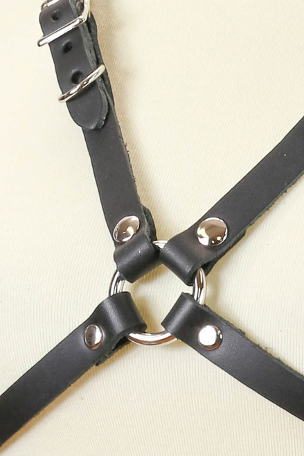 Shop this bdsm body harness that features a leather chest harness with adjustable chest straps