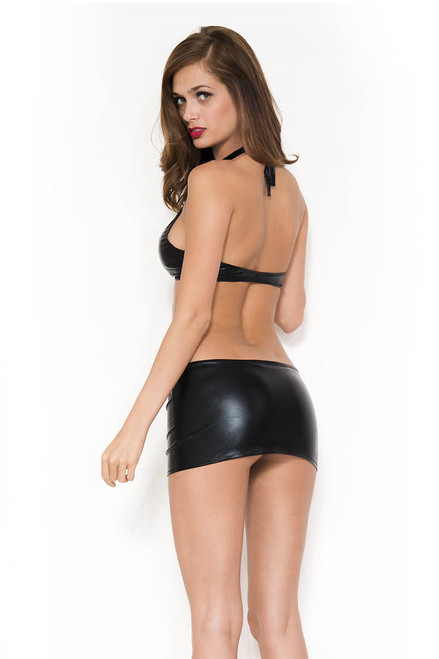 shop this women's stretch mini skirt and halter top for a exotic dancewear outfit