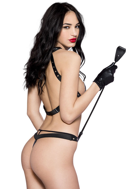 Shop this wet look teddy with metal o rings and crotchless style