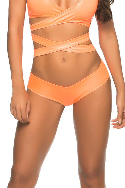 Shop this wet look neon orange sexy booty shorts