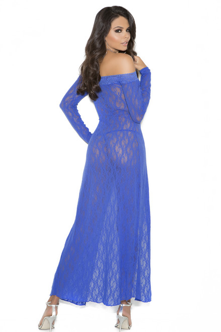 Sheer floral lace gown lingerie with long sleeves