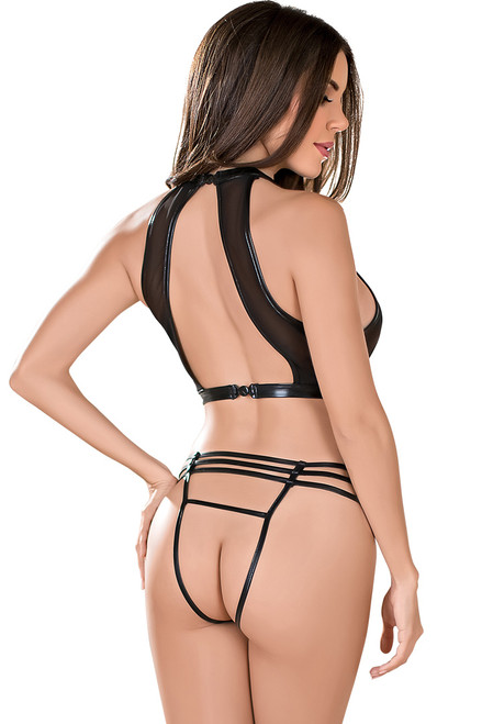 Shop this underboob sheer mesh lingerie top with assless panty