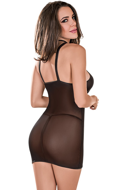 Shop this sheer mesh chemise with wet look trim
