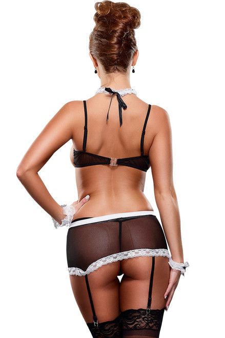 Shop this sexy French Maid costume with cupless bra, sheer garter mini skirt and accessories