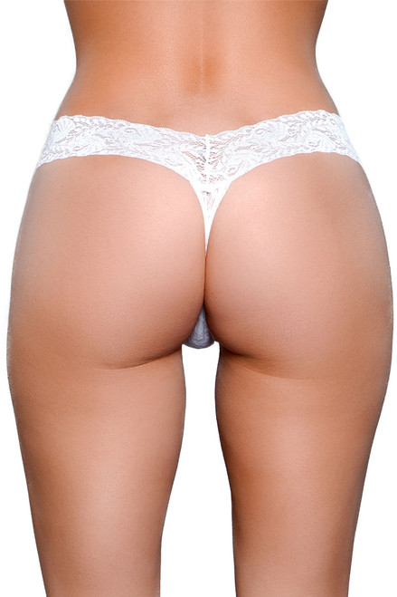 Shop this classic thong panty with stretch lace