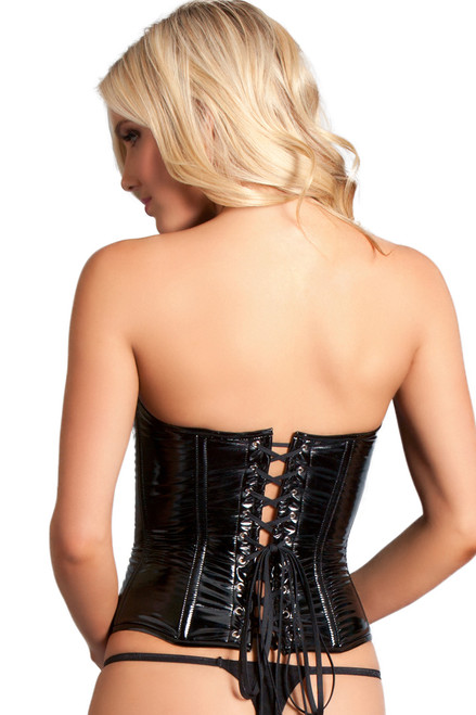 Shop this black vinyl corset with lace up back and dominatrix clothing