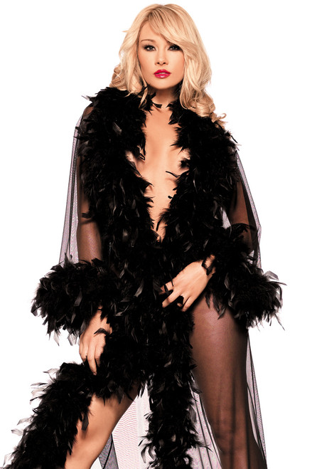Shop this sheer mesh robe with feather trim