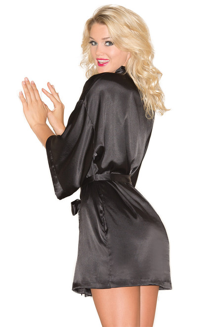Shop this lingerie robe with black satin and short length