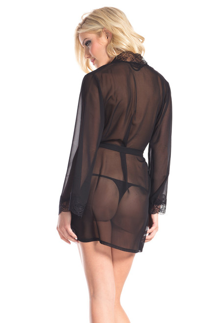 Shop this lingerie robe with lace trim