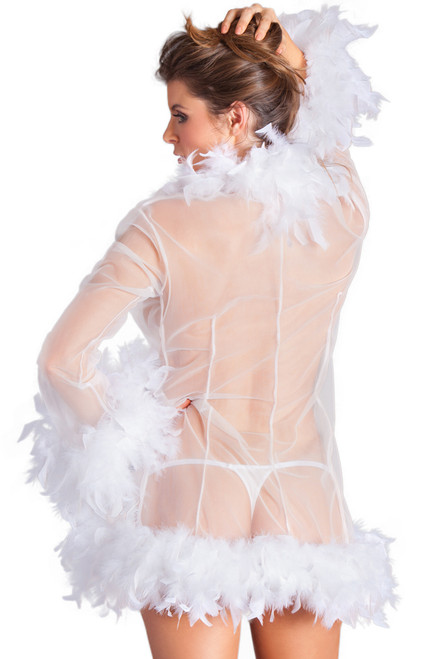 Shop this sexy lingerie robe with sheer mesh and feather trim
