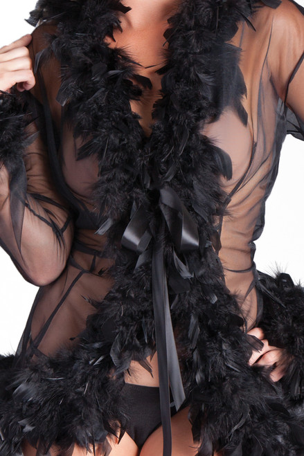 Shop this black see through robe with feathers