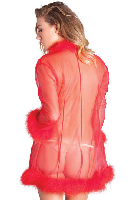 Shop this marabou mesh robe with sheer mesh robe and red feathers