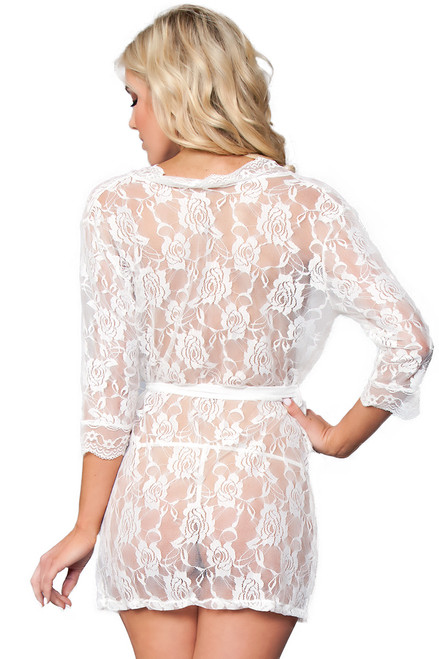 Shop this white lace lingerie robe with waist belt