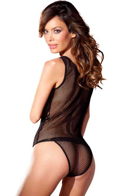Shop this black fishnet tank top with panty