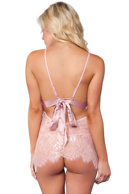 Shop this pink lingerie chemise with sheer lace and pink satin trim back bows