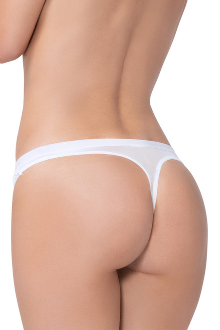 Shop this white lace panty with satin elastic waistband
